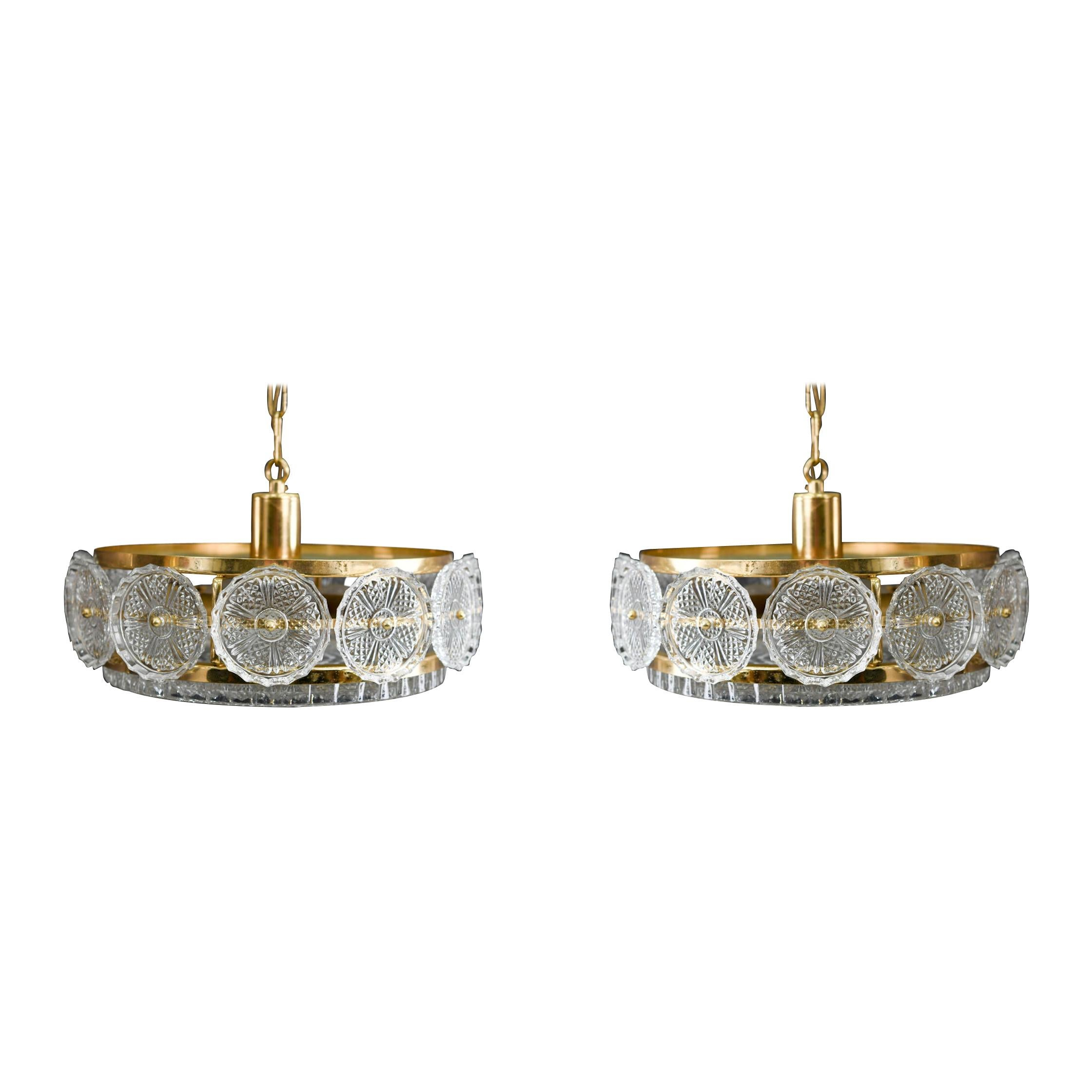 Pair of Carl Fagerlund for Orrefors Chandeliers, circa 1960s