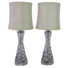 Pair of Carl Fagerlund Table Lamps for Orrefors