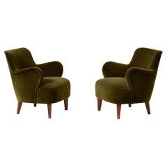 Pair of Carl Malmsten 1950s Velvet Armchairs
