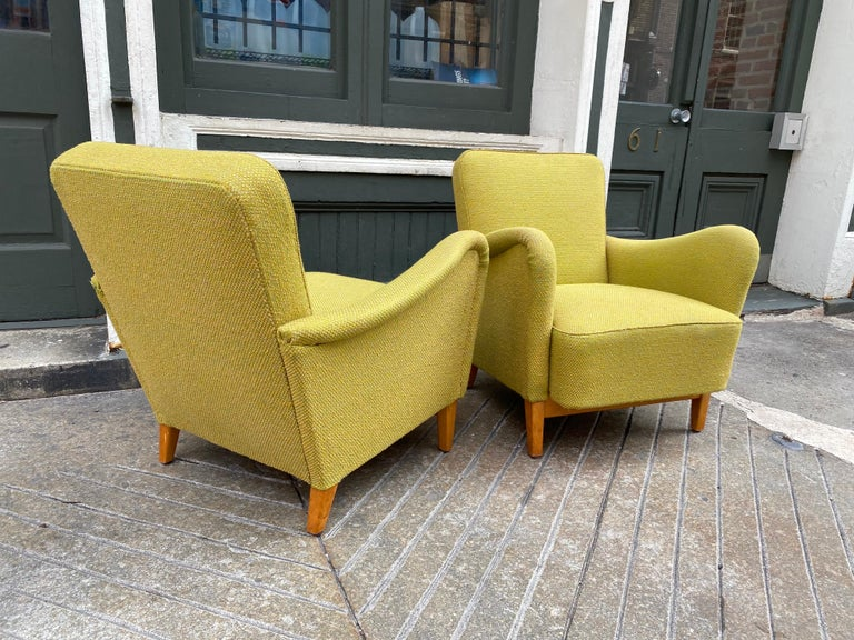 Swedish Pair of Carl Malmsten for DUX Lounge Chairs For Sale