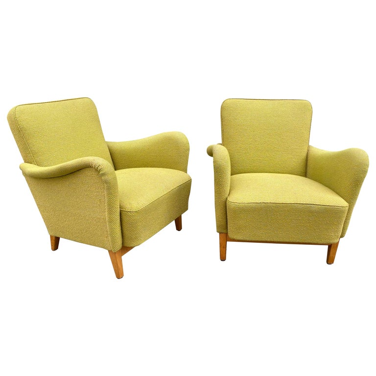Pair of Carl Malmsten for DUX Lounge Chairs For Sale