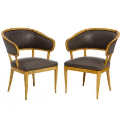 "Pair of Carl Malmsten ""Jonas Love"" Birchwood Armchairs, circa 1940s"