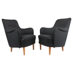 Pair of Carl Malmsten Samsas Chairs Newly Upholstered