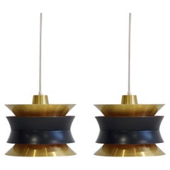 Pair of Carl Thore for Granhaga Brass Ceiling Lamps