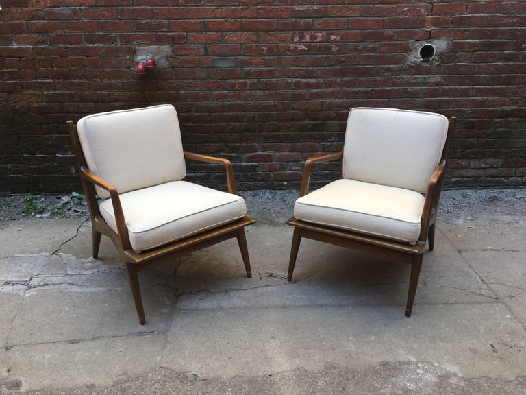 Mid-Century Modern Pair of Carlo di Carli Walnut Armchairs for M. Singer & Sons For Sale
