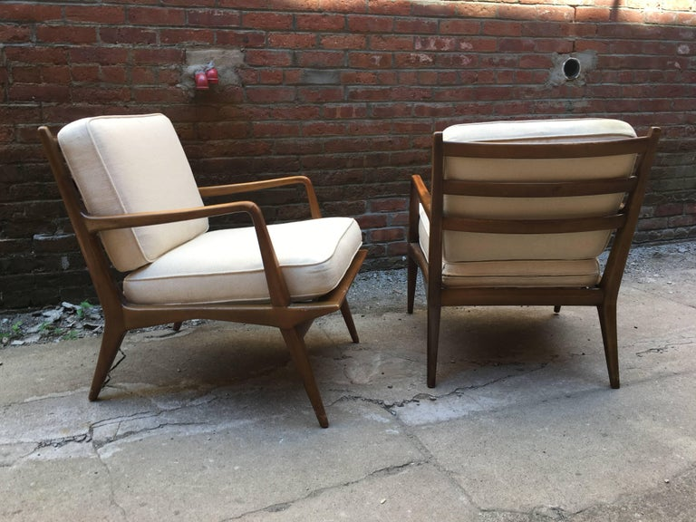 Italian Pair of Carlo di Carli Walnut Armchairs for M. Singer & Sons For Sale