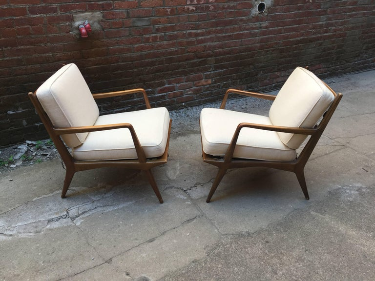 Mid-20th Century Pair of Carlo di Carli Walnut Armchairs for M. Singer & Sons For Sale