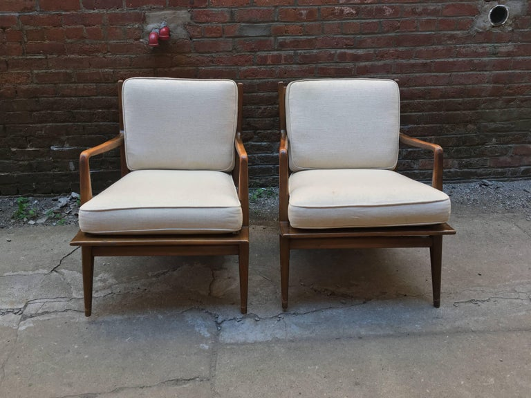 Metal Pair of Carlo di Carli Walnut Armchairs for M. Singer & Sons For Sale