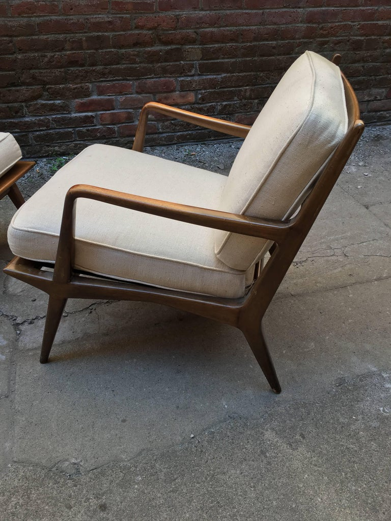 Pair of Carlo di Carli Walnut Armchairs for M. Singer & Sons For Sale 1