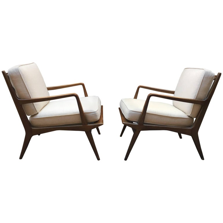 Pair of Carlo di Carli Walnut Armchairs for M. Singer & Sons For Sale