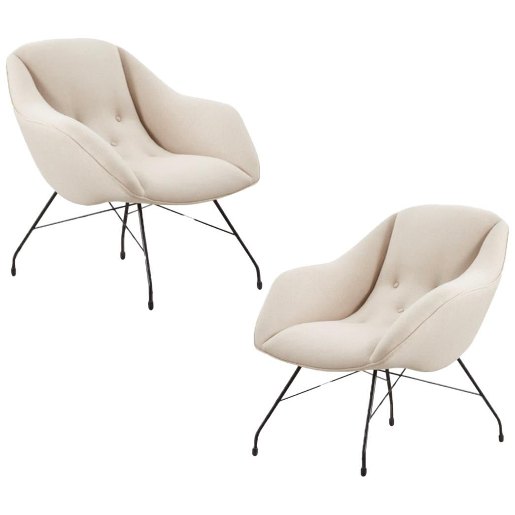 Pair of Carlo Hauner Martin Eisler Shell Chairs for Forma, Brazil, 1950s