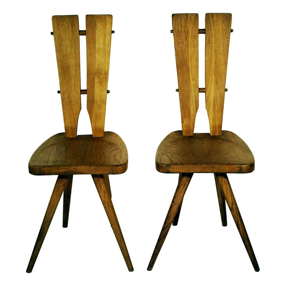Pair of Side Chairs in the Manner of the Carlo Mollino Casa del Sole Chairs