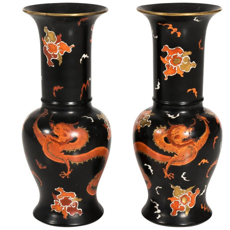 Pair Of Carlton Ware Chinoiserie Vases At 1stdibs