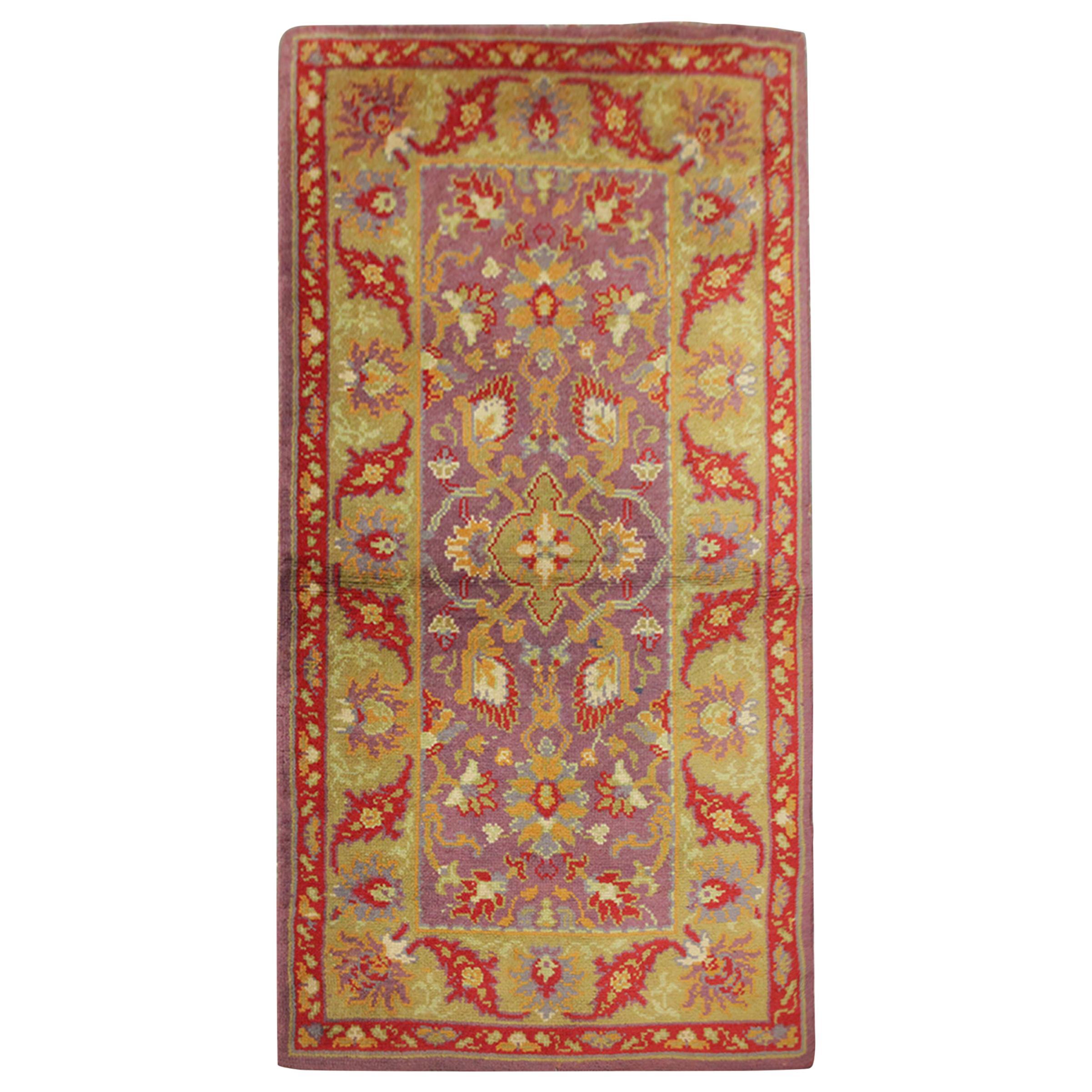 Pair of Carpet Vintage Irish Donegal Rugs, Purple/ Yellow Living Room Rugs Sale