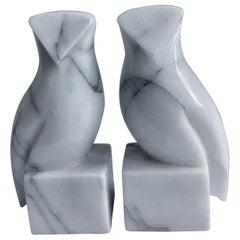 Pair of Carrara Marble Owl Bookends