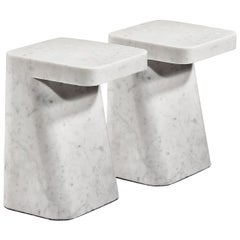 Pair of Carrara White Marble Side Tables