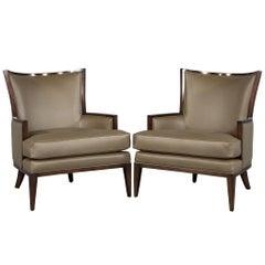 Pair of Carrocel Custom Leather Modern Wingback Armchairs
