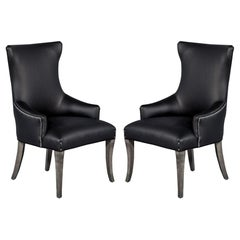 Pair of Carrocel Modern Opus Custom Leather Upholstered Modern Parlor Chairs
