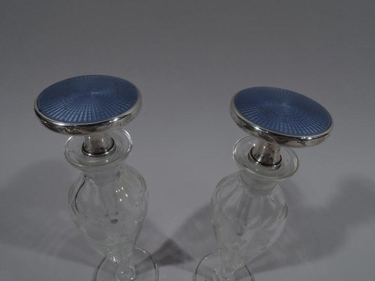 Pair of Cartier Art Deco Sterling Silver, Enamel and Crystal Perfumes In Excellent Condition For Sale In New York, NY