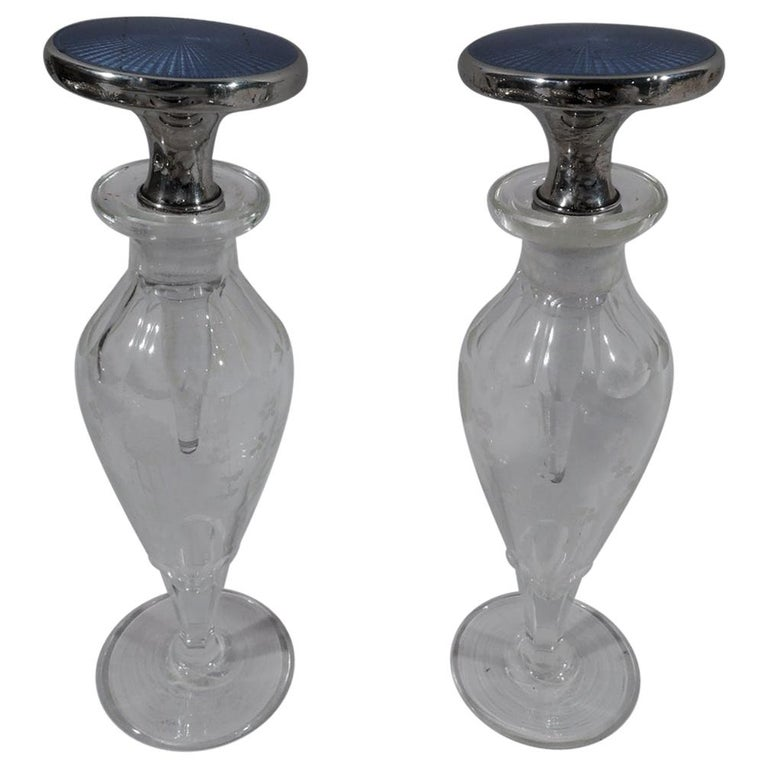 Pair of Cartier Art Deco Sterling Silver, Enamel and Crystal Perfumes For Sale