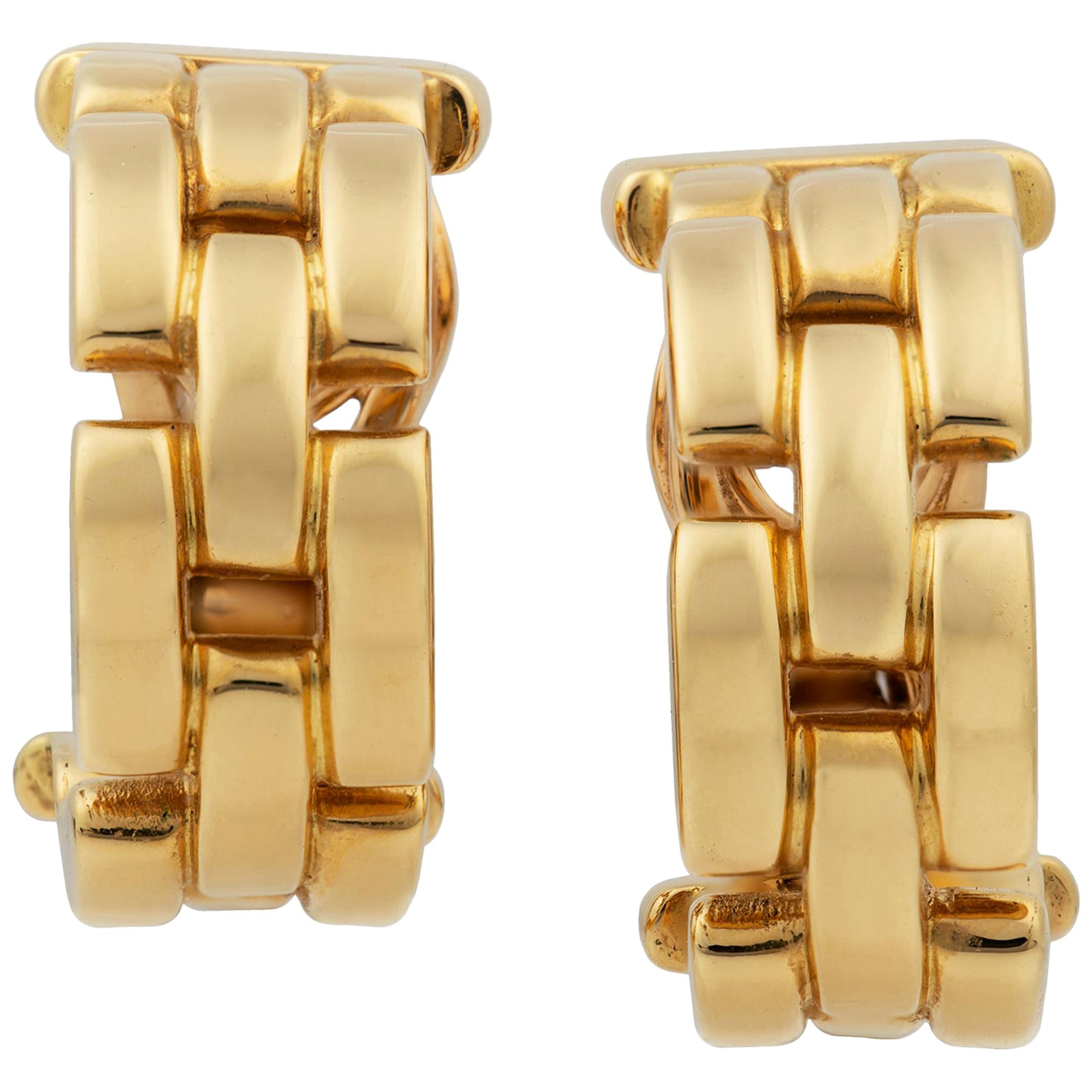 Pair of Cartier Maillon Panthere Yellow Gold Hoop Earrings
