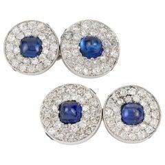 Pair of Cartier Sapphire and Diamond Cufflinks
