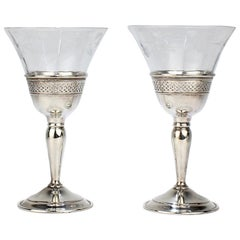 Pair of Cartier Sterling Silver Midcentury Sterling Silver & Glass Wine Goblets