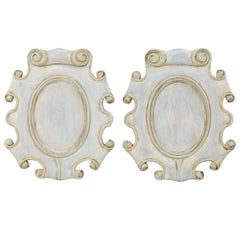 Pair of Cartouche Carved Wood Plaques with Scrolled Edges, Blue with Gray