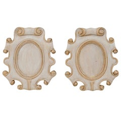 Pair of Cartouche Carved Wood Plaques with Scrolled Edges, Pale Blue with Taupe