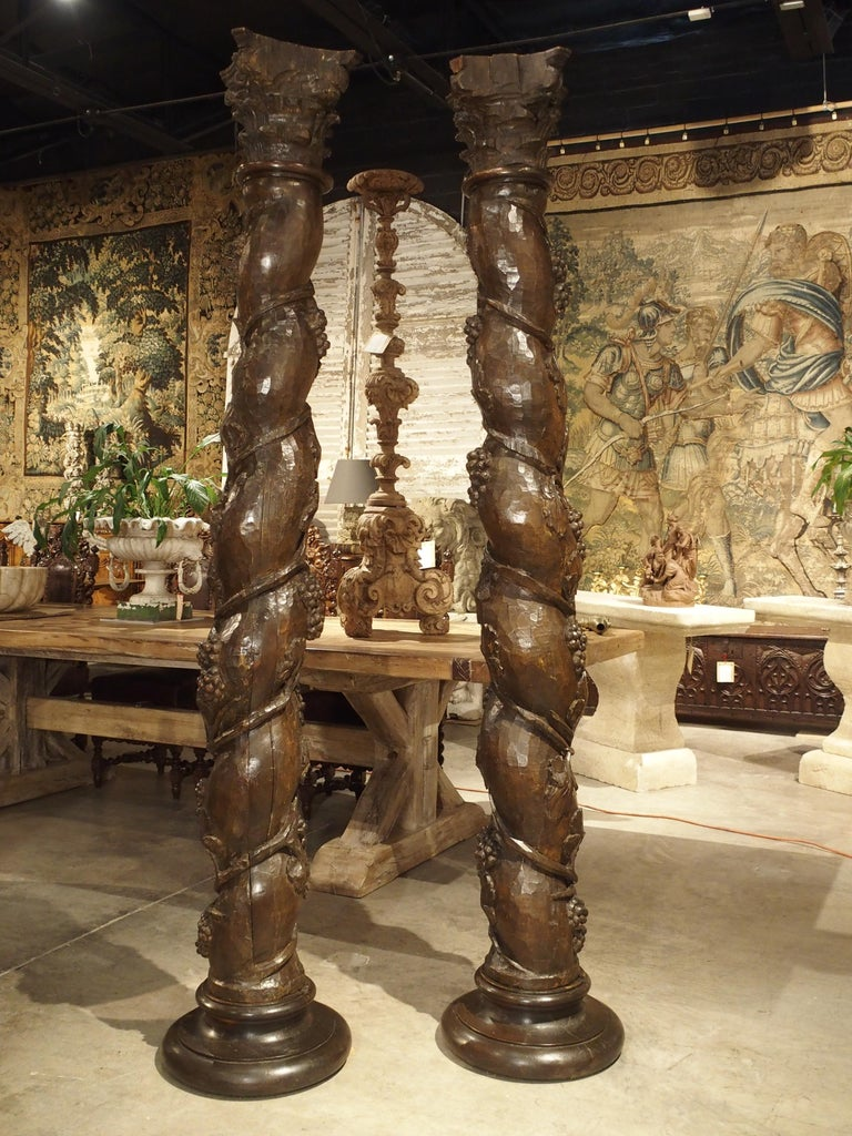 Pair of Carved 17th Century Solomonic Columns from France For Sale 5