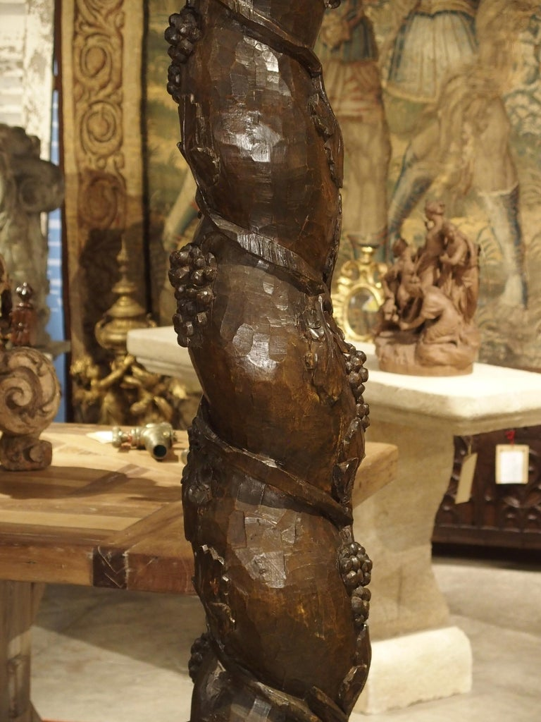 Pair of Carved 17th Century Solomonic Columns from France For Sale 9