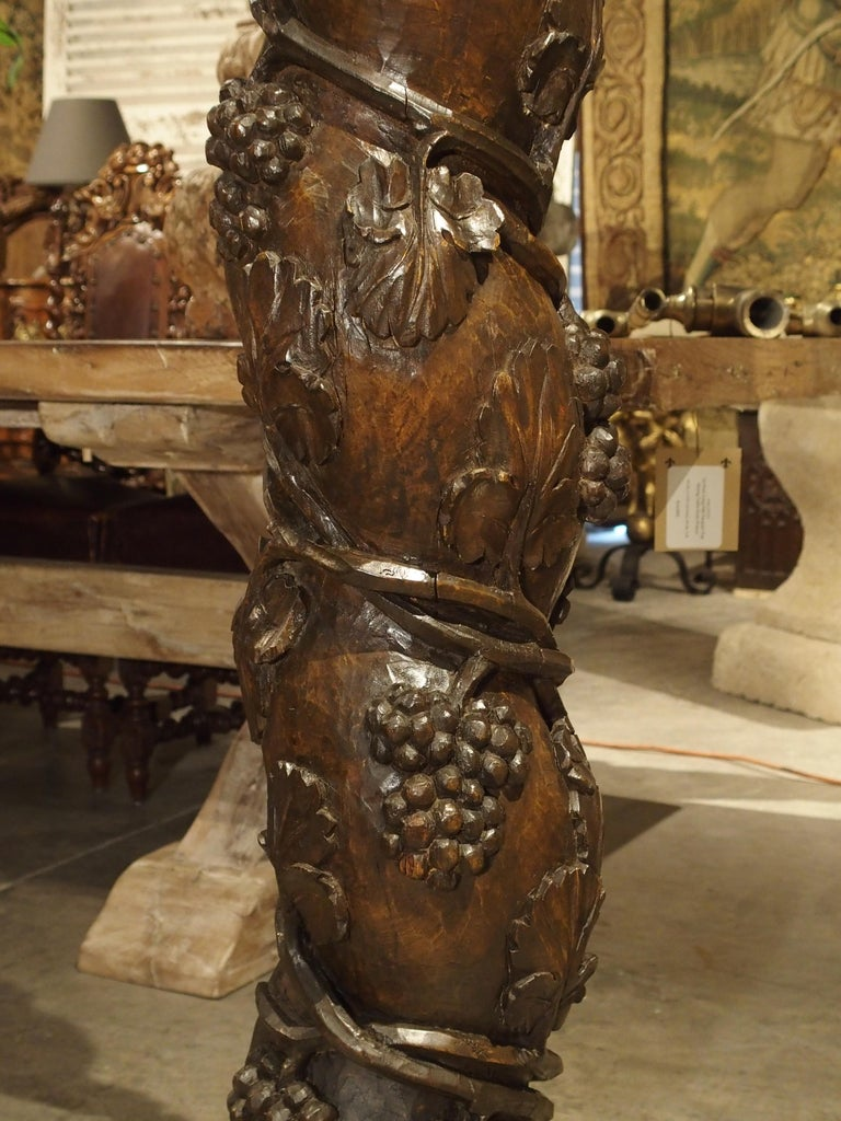 Pair of Carved 17th Century Solomonic Columns from France For Sale 12