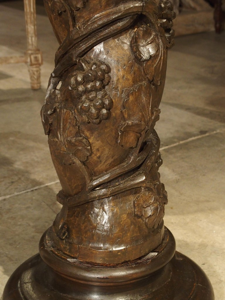 Pair of Carved 17th Century Solomonic Columns from France For Sale 13