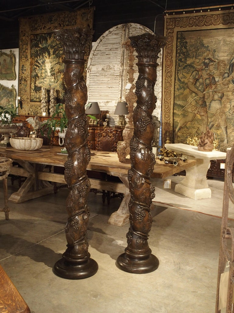 Pair of Carved 17th Century Solomonic Columns from France For Sale 14