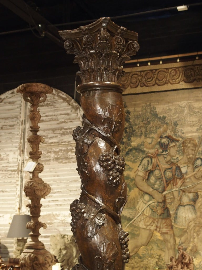 Hand-Carved Pair of Carved 17th Century Solomonic Columns from France For Sale