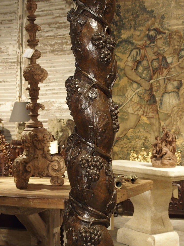 Pair of Carved 17th Century Solomonic Columns from France In Good Condition For Sale In Dallas, TX