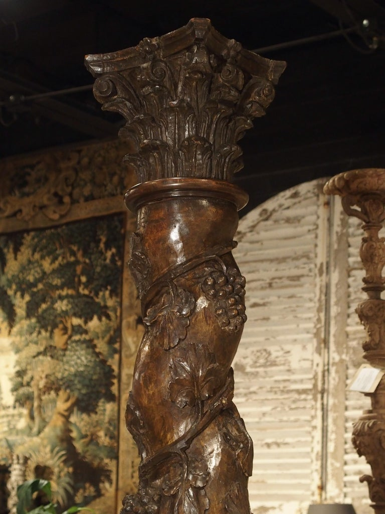 Wood Pair of Carved 17th Century Solomonic Columns from France For Sale