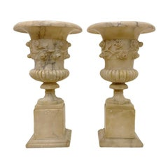 Pair of Carved Alabaster Table Lamps