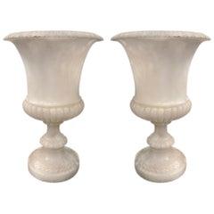 Pair of Carved Alabaster Urn Lamps