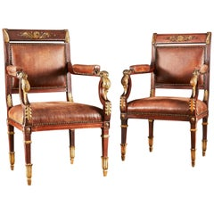 Pair of Carved and Gilded Armchairs Attributed to Maison Jansen