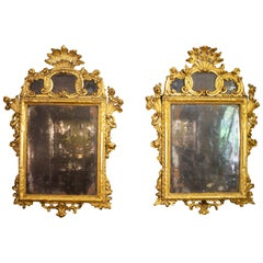Pair of Carved and Gilded Wooden Mirrors from the 18th Century Made in Sicily