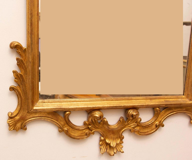 Giltwood Pair of Carved and Gilt Italian Console Mirrors For Sale