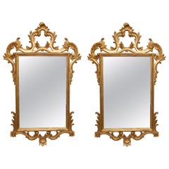 Pair of Carved and Gilt Italian Console Mirrors