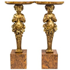 Pair of Carved and Giltwood Putti Console, Late 19th Century