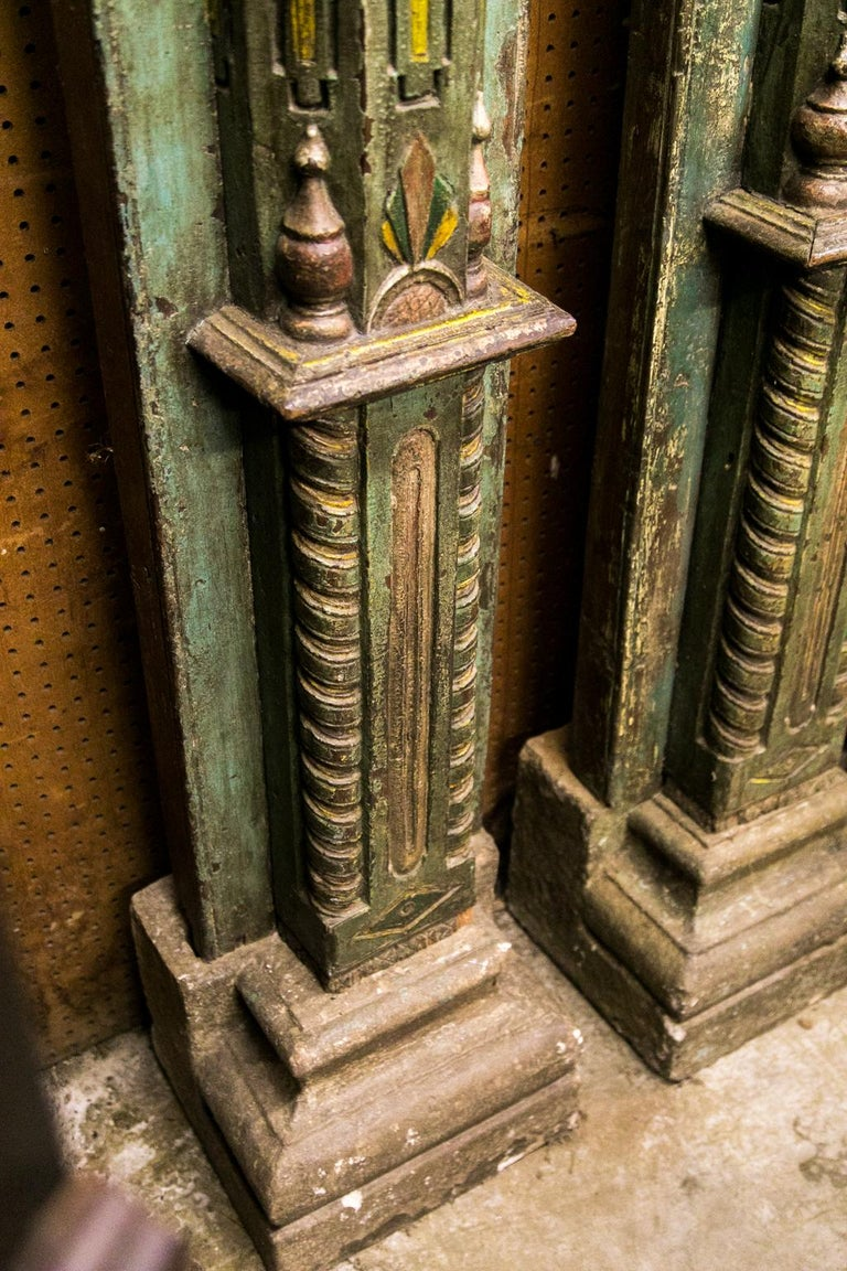 Pair of Carved and Painted Pilasters For Sale 5