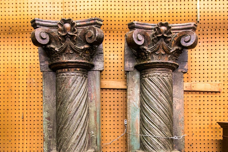 Indian Pair of Carved and Painted Pilasters For Sale