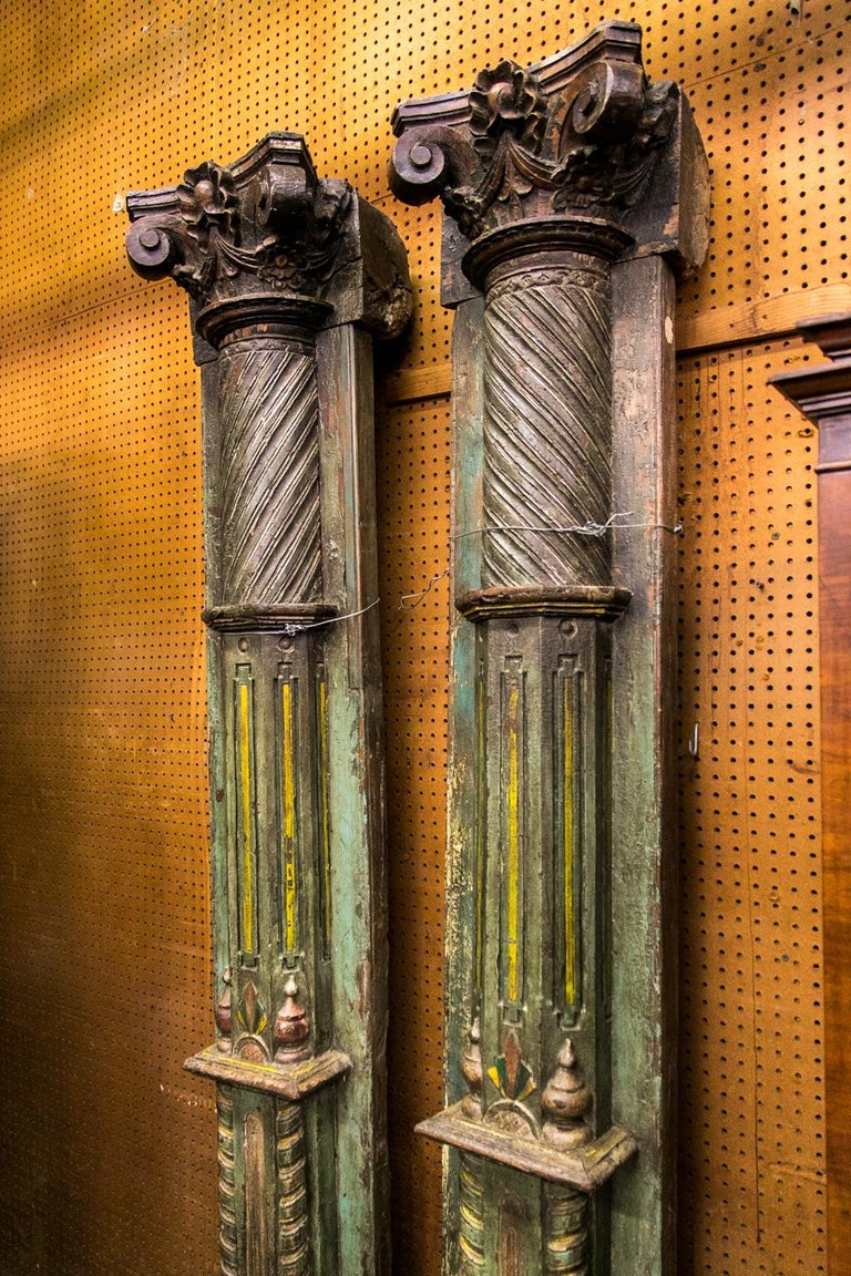 Hand-Carved Pair of Carved and Painted Pilasters For Sale