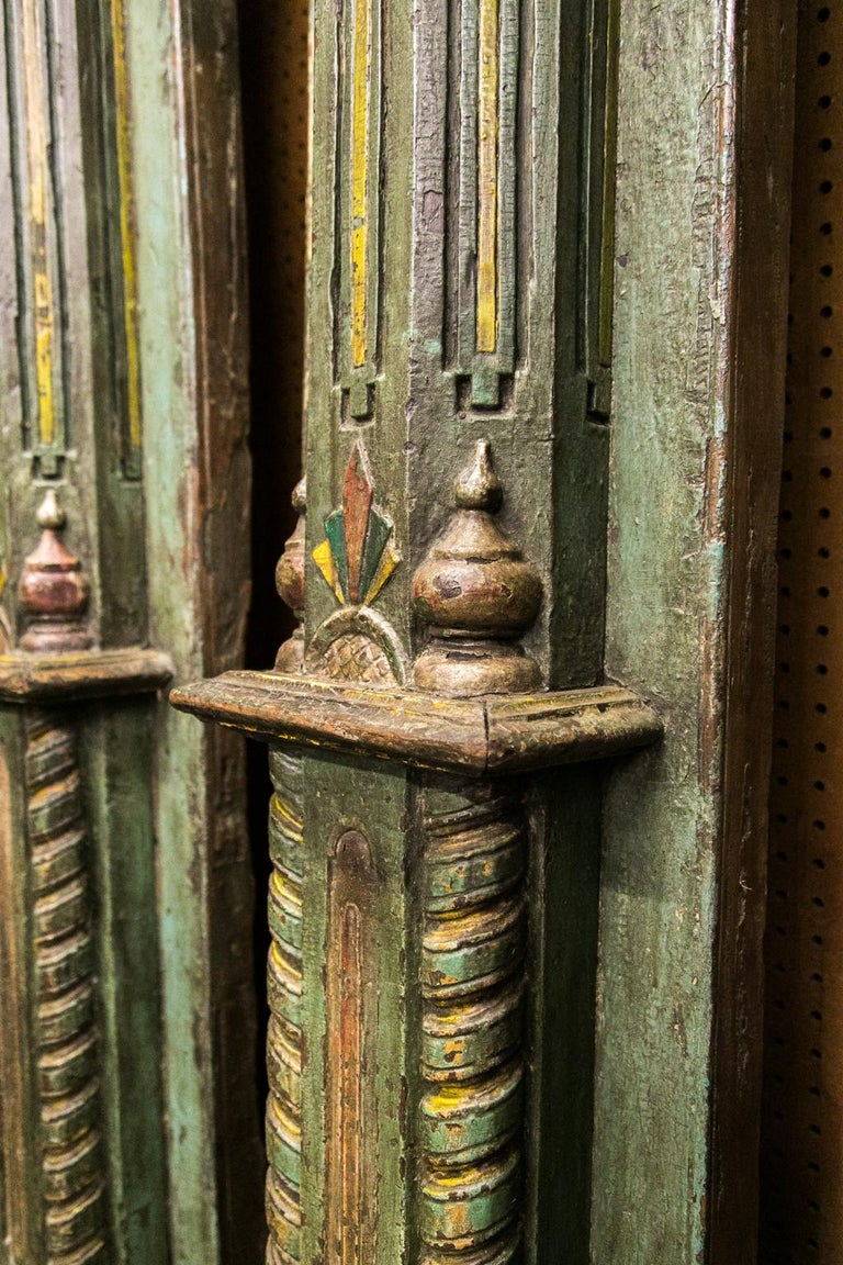 Pair of Carved and Painted Pilasters For Sale 1