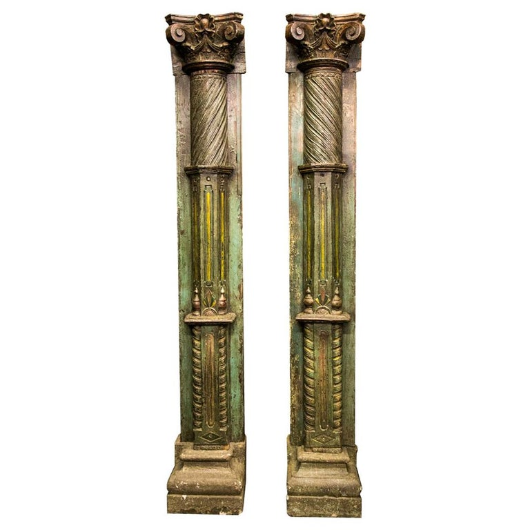 Pair of Carved and Painted Pilasters For Sale