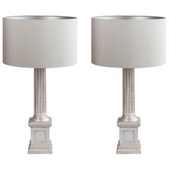 Pair of Carved and Painted Wood Column Table Lamps